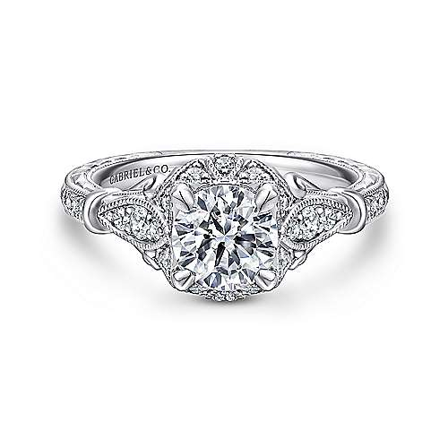 Gabriel - Montgomery 14k White Gold Round Halo Engagement Ring