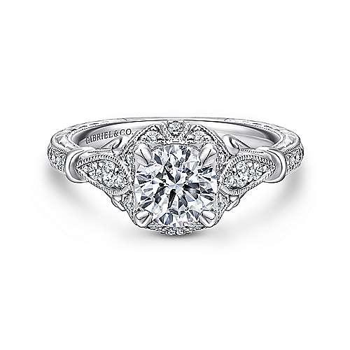 Gabriel - Montgomery Platinum Round Halo Engagement Ring