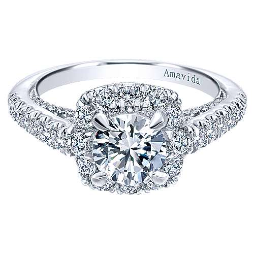 Gabriel - Moonlight 18k White Gold Round Halo Engagement Ring