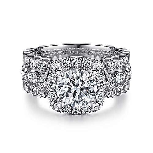 Gabriel - Moore 14k White Gold Round Halo Engagement Ring