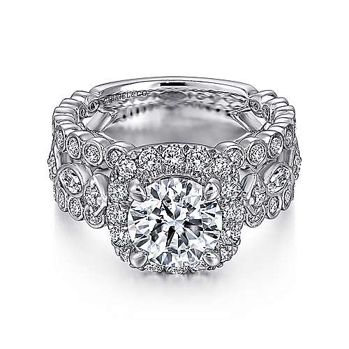 Gabriel - Moore 18k White Gold Round Halo Engagement Ring