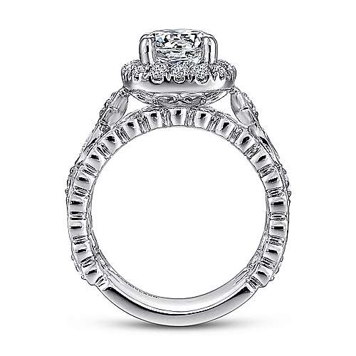 Moore 18k White Gold Round Halo Engagement Ring angle 2