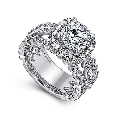 Moore 18k White Gold Round Halo Engagement Ring angle 3