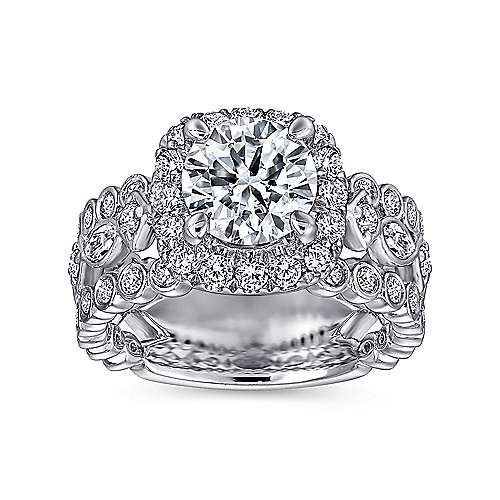 Moore 18k White Gold Round Halo Engagement Ring angle 5