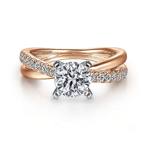 Morgan 14k White And Rose Gold Round Twisted Engagement Ring angle 1