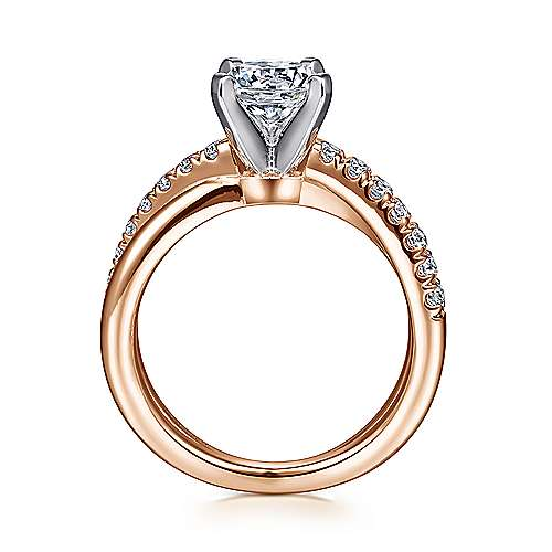 Morgan 14k White And Rose Gold Round Twisted Engagement Ring angle 2