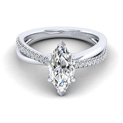 Gabriel - Morgan 14k White Gold Marquise  Twisted Engagement Ring