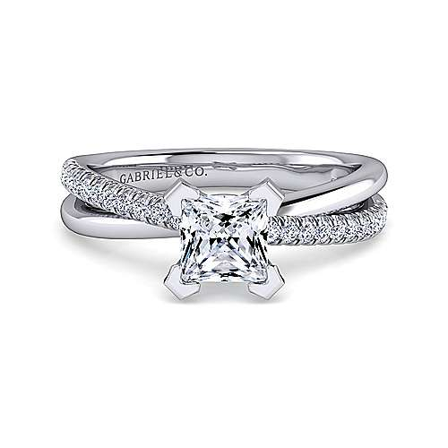 Gabriel - Morgan 14k White Gold Princess Cut Twisted Engagement Ring
