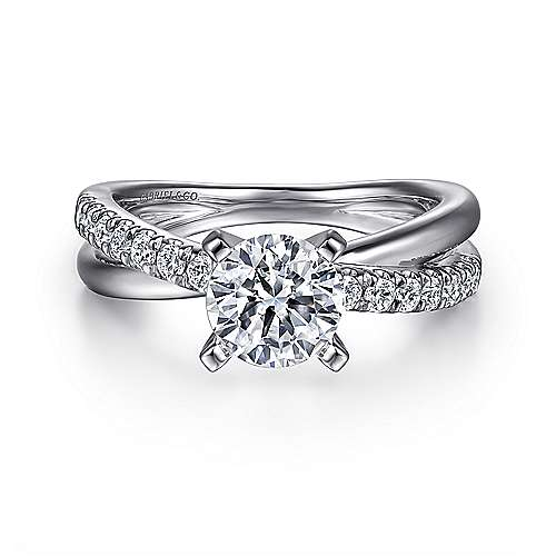 Gabriel - Morgan 14k White Gold Round Twisted Engagement Ring