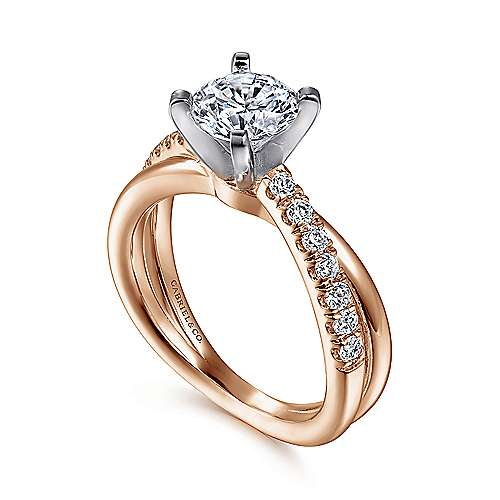 Morgan 14k White/rose Gold Round Twisted Engagement Ring angle 3