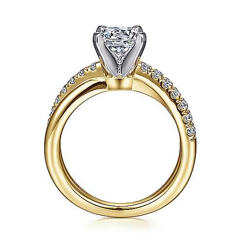 Morgan 14k Yellow And White Gold Round Twisted Engagement Ring angle 2