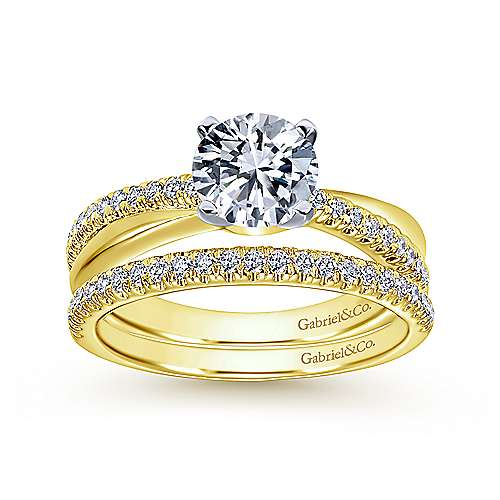 Morgan 14k Yellow And White Gold Round Twisted Engagement Ring angle 4