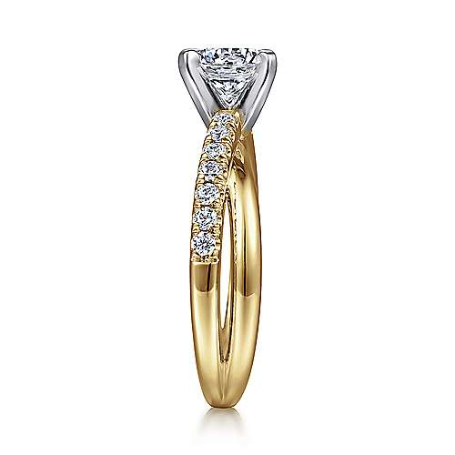 Morgan 14k Yellow And White Gold Round Twisted Engagement Ring angle 5