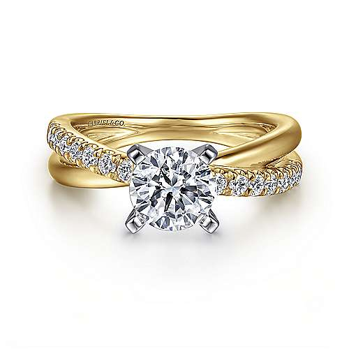 Gabriel - Morgan 14k Yellow/white Gold Round Twisted Engagement Ring