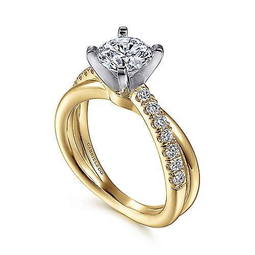 Morgan 14k Yellow/white Gold Round Twisted Engagement Ring angle 3