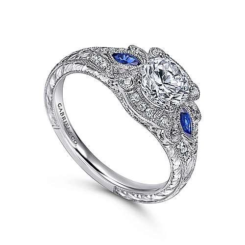 Morningside Platinum Round 3 Stones Halo Engagement Ring angle 3
