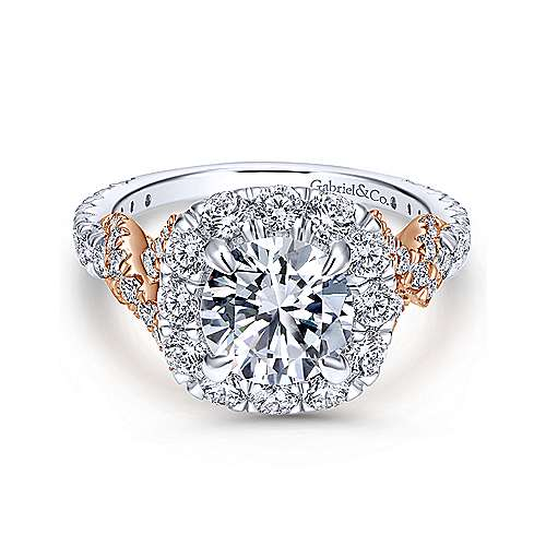 Gabriel - Mott 14k White And Rose Gold Round Halo Engagement Ring