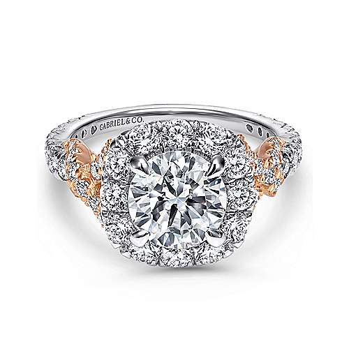 Gabriel - Mott 18k White And Rose Gold Round Halo Engagement Ring