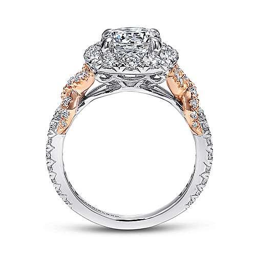 Mott 18k White And Rose Gold Round Halo Engagement Ring angle 2