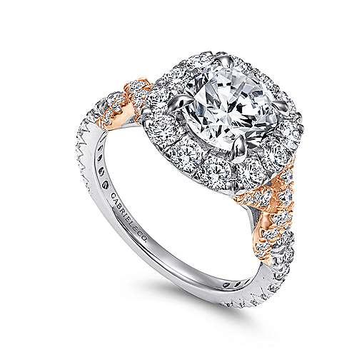 Mott 18k White And Rose Gold Round Halo Engagement Ring angle 3
