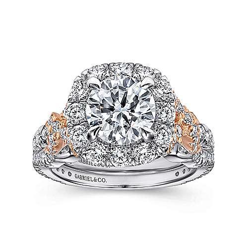 Mott 18k White And Rose Gold Round Halo Engagement Ring angle 4