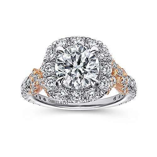 Mott 18k White And Rose Gold Round Halo Engagement Ring angle 5