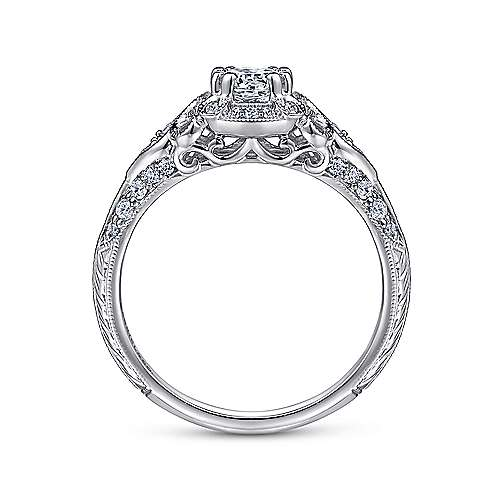 Mulberry 14k White Gold Round Halo Engagement Ring angle 2