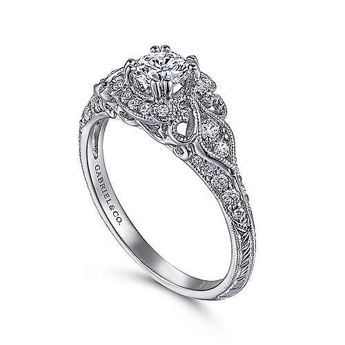 Mulberry 14k White Gold Round Halo Engagement Ring angle 3