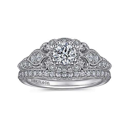 Mulberry 14k White Gold Round Halo Engagement Ring angle 4