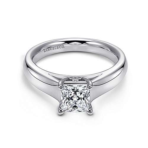 Mya 14k White Gold Princess Cut Solitaire Engagement Ring angle 1