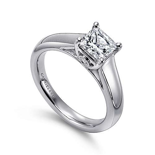 Mya 14k White Gold Princess Cut Solitaire Engagement Ring angle 3