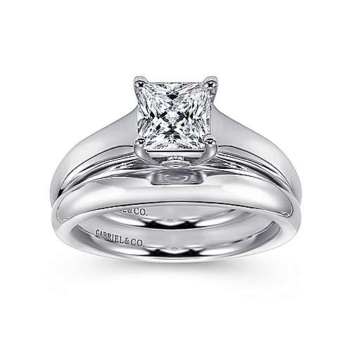Mya 14k White Gold Princess Cut Solitaire Engagement Ring angle 4
