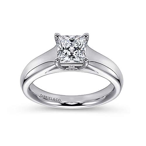Mya 14k White Gold Princess Cut Solitaire Engagement Ring angle 5
