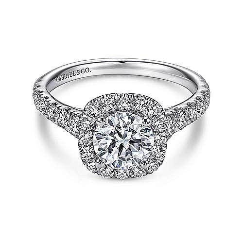 Gabriel - Mykonos 18k White Gold Round Halo Engagement Ring