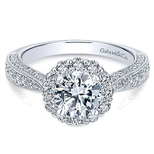 Gabriel - Myra 14k White Gold Round Halo Engagement Ring