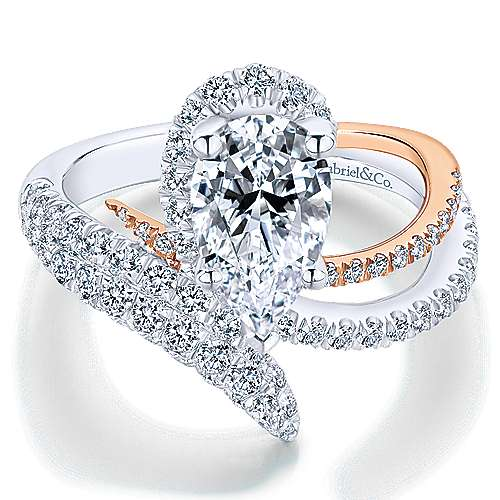 Gabriel - Mystic 18k White And Rose Gold Pear Shape Halo Engagement Ring