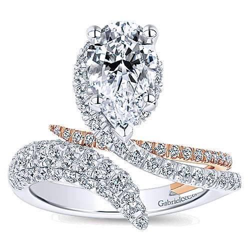 Mystic 18k White And Rose Gold Pear Shape Halo Engagement Ring angle 5
