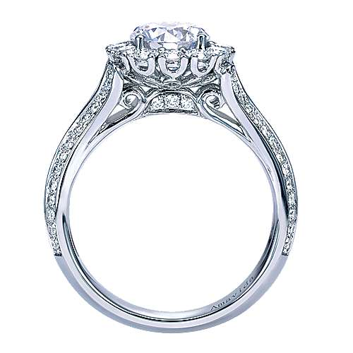 Nadia 18k White Gold Round Halo Engagement Ring angle 2