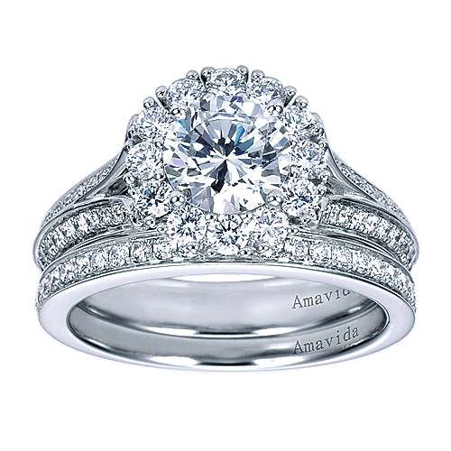 Nadia 18k White Gold Round Halo Engagement Ring angle 4