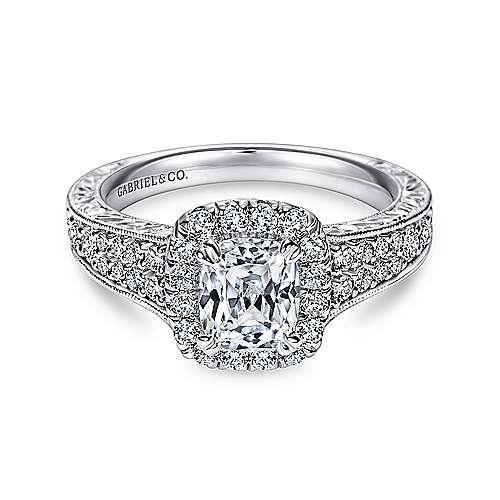 Nadine 14k White Gold Cushion Cut Halo Engagement Ring angle 1