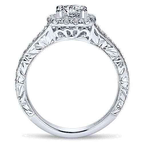 Nadine 14k White Gold Cushion Cut Halo Engagement Ring angle 2