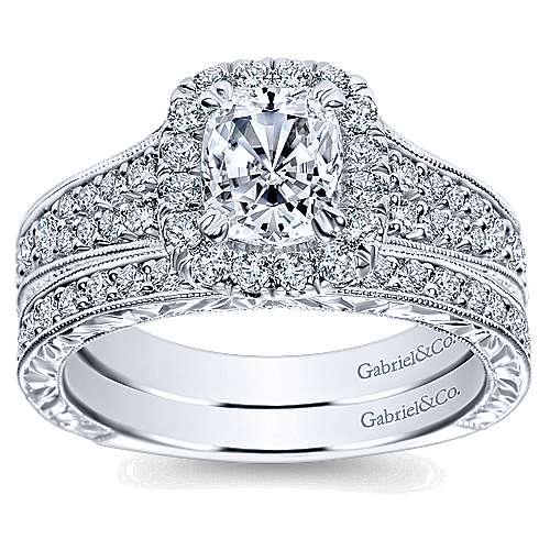 Nadine 14k White Gold Cushion Cut Halo Engagement Ring angle 4