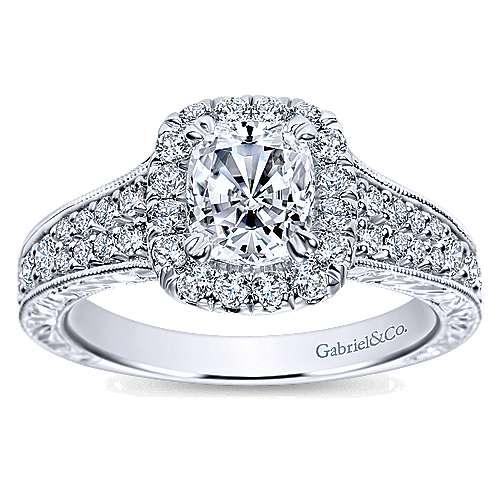 Nadine 14k White Gold Cushion Cut Halo Engagement Ring angle 5