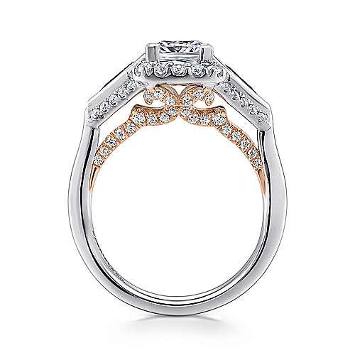 Nanette 14k White/pink Gold Princess Cut 3 Stones Halo Engagement Ring angle 2