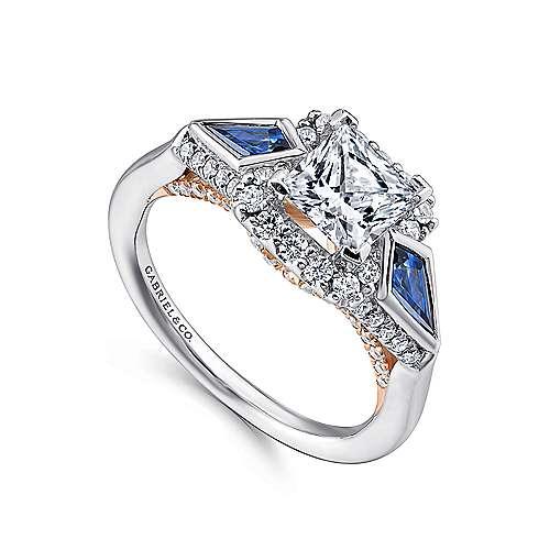 Nanette 14k White/pink Gold Princess Cut 3 Stones Halo Engagement Ring angle 3