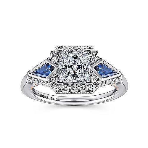 Nanette 14k White/pink Gold Princess Cut 3 Stones Halo Engagement Ring angle 5
