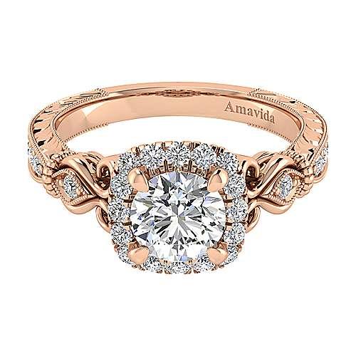 Gabriel - Nantes 18k Rose Gold Round Halo Engagement Ring