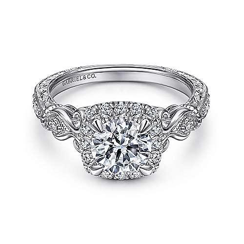 Nantes 18k White Gold Round Halo Engagement Ring angle 1