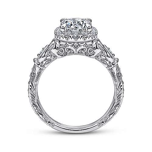 Nantes 18k White Gold Round Halo Engagement Ring angle 2