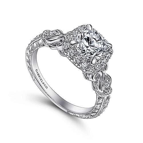 Nantes 18k White Gold Round Halo Engagement Ring angle 3